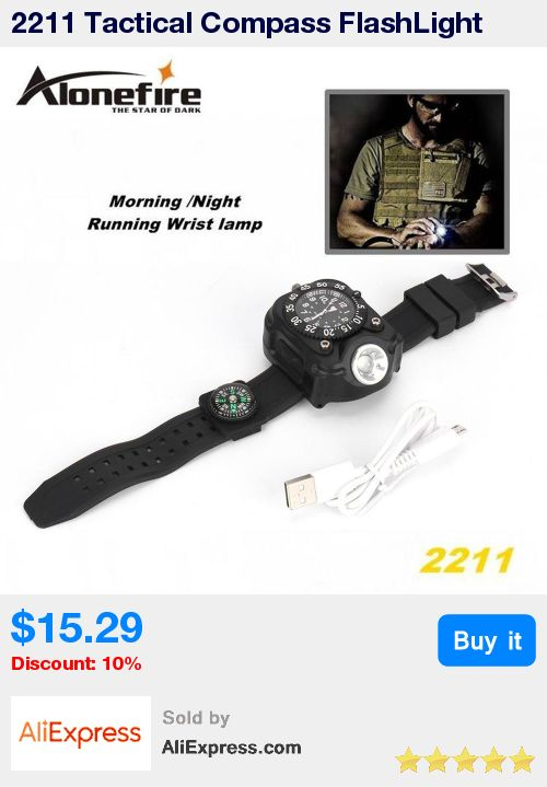 2211 Tactical Compass FlashLight Rechargeable Q5 LED Watch Flashlight Wristlight Waterproof Wrist Lighting Lamp Outdoor 800LM * Pub Date: 04:30 Apr 23 2017