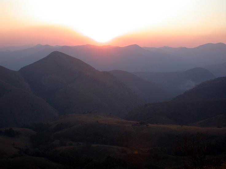 Sunset over the rocky hills overlooking Nelspruit, Mpumalanga