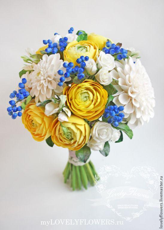 Купить Букет невесты с желтыми ранункулюсами полимерной глины - букет невесты, букет невесты из глины