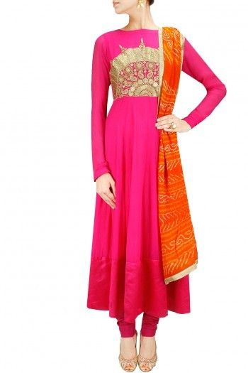 Rani pink embroidered anarkali set with orange bandhani dupatta