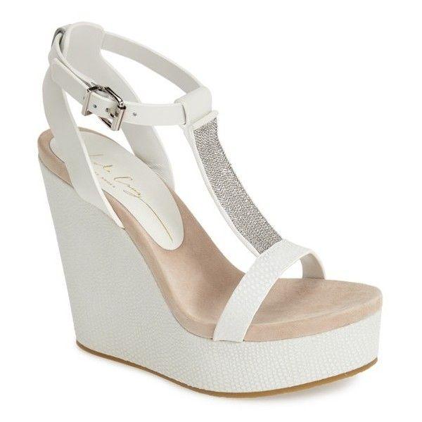 "Lola Cruz Chain T-Strap Wedge Sandal, 4 1/2"" heel (£200) ❤ liked on Polyvore"