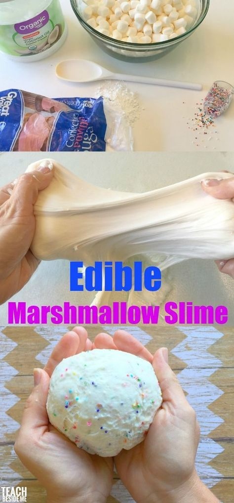 Edible Marshmallow slime with sprinkles! Easy to make and fun to play with (or eat!) candy slime, edible slime, non-toxic slime via @karyntripp