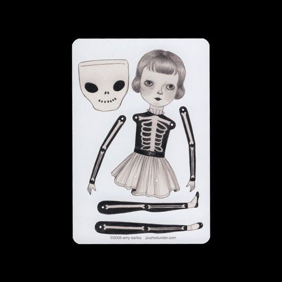 articulated paper dolls | Skeleton suit articulated paper doll set with 4 by woolandwater