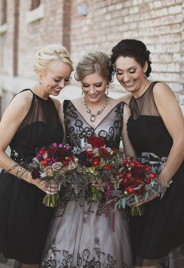 bridesmaids in black // photo by Millie B Photography // http://ruffledblog.com/notwedding-wichita
