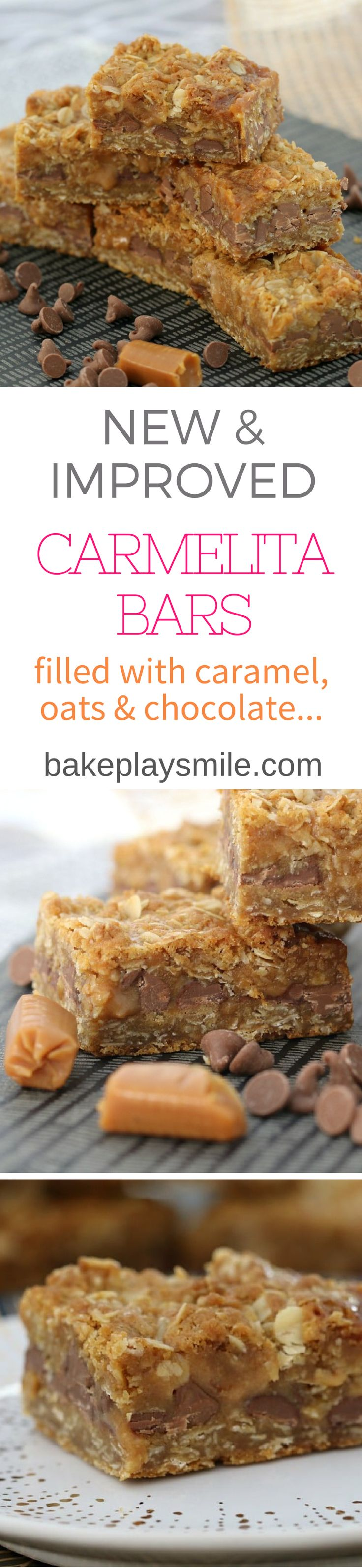 These new & improved Carmelitas are made with the most mouth-watering combination of oats, caramel and chocolate. Totally and utterly irresistible! #carmelitas #recipe #easy #caramel #slice #chocolate #oat #best #thermomix #conventional