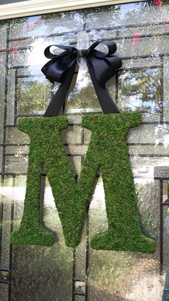 Moss Letter Monogram M Moss Initial Wreath