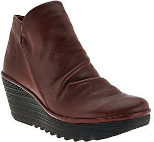Fly London As Is Leather Ruched Ankle Boots - Yip