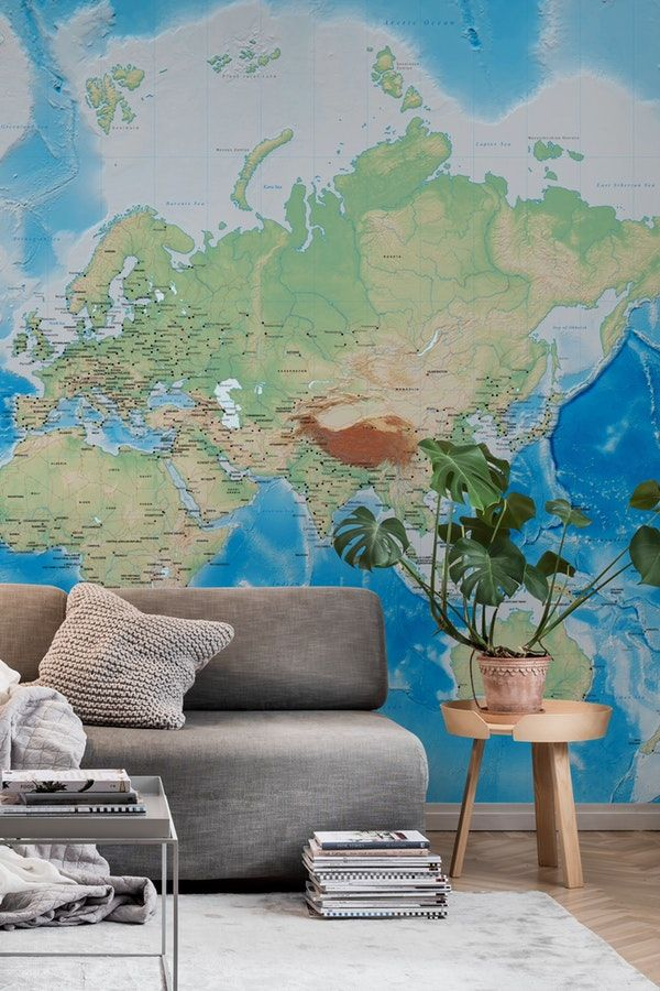 World map Wall Mural / Wallpaper Maps | Map wall murals ...