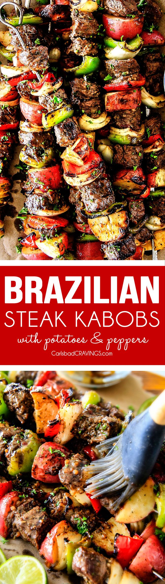 Brazilian Steak Kabobs with Potatoes, Onions and Peppers