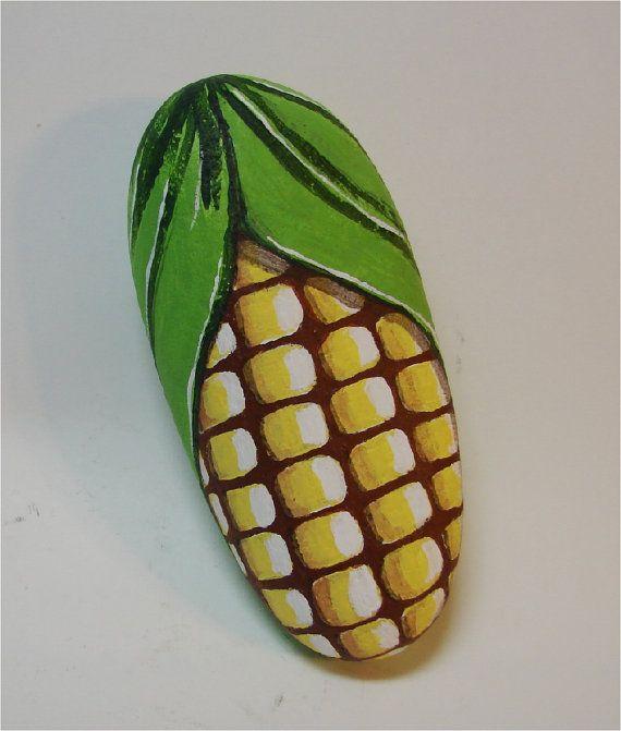 Corn Ear of Corn hand painted rock fun rock art garden by RocksOK