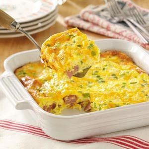 Oven Denver Omelet Recipe -I like omelets but don't always have time to stand by the stove. That's why I favor this oven-baked variety that I can quickly pop into the oven at a moment's notice. My family frequently requests this for Sunday brunch. They always empty the dish.—Ellen Bower, Taneytown, Maryland
