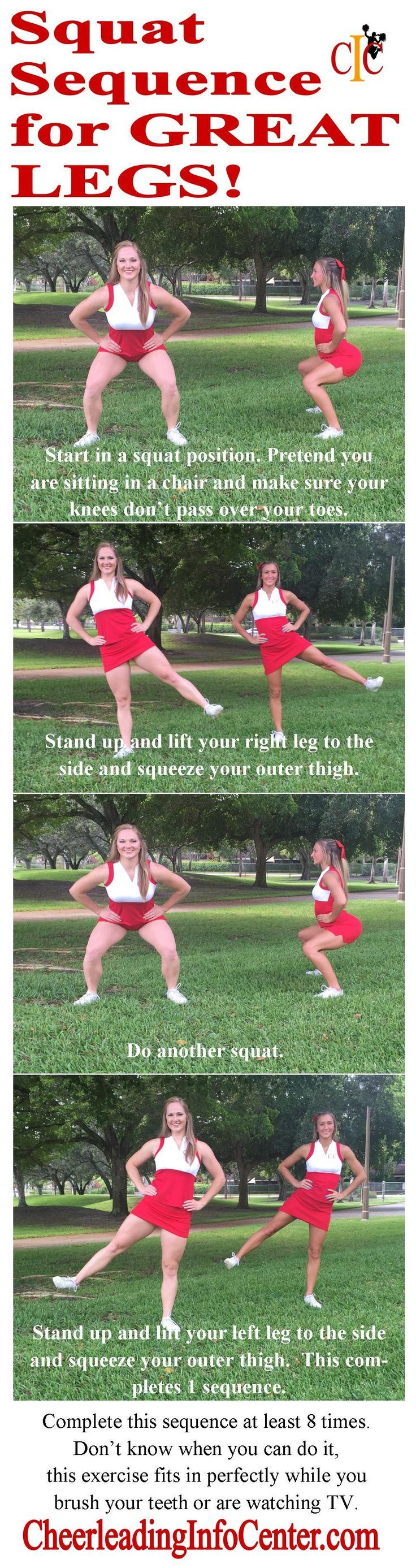 Do you want some great exercises for your legs? Check out this squat sequence that you can do while watching TV or brushing your teeth! For more great cheerleading tips, check out http://CheerleadingInfoCenter.com