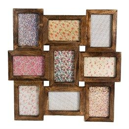 Wall Collage Rustic Wood Multi Photo Frame Dark