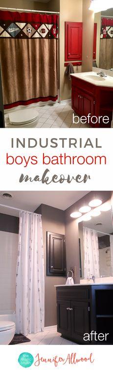 Industrial Boys Bathroom Makeover