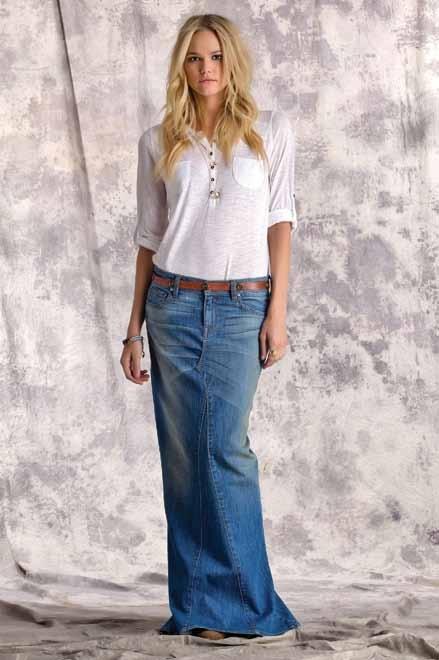 164 best Long denim skirts images on Pinterest