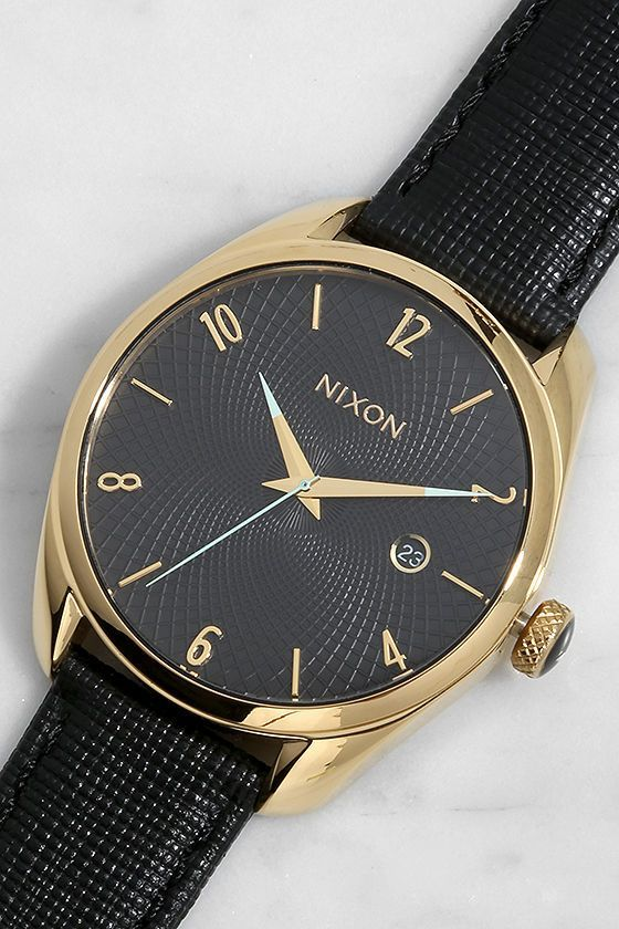 Nixon Bullet Gold and Black Leather Watch at Lulus.com!