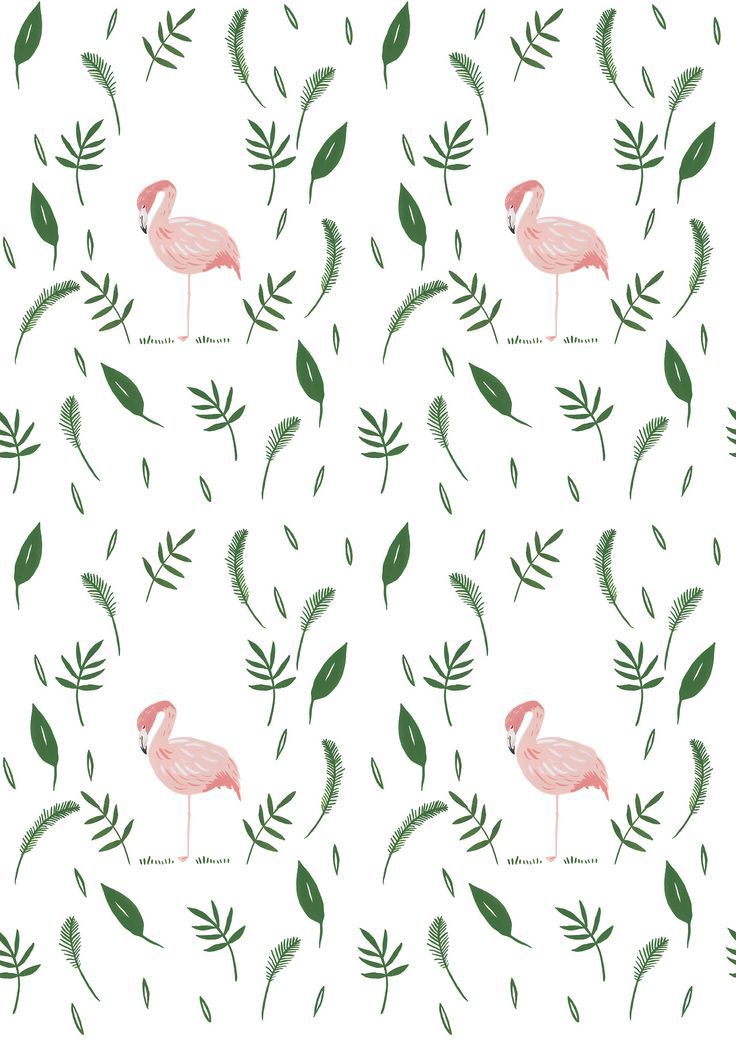 Flamingo leafy nature pattern design / gouache painting illustration / textile design / print design