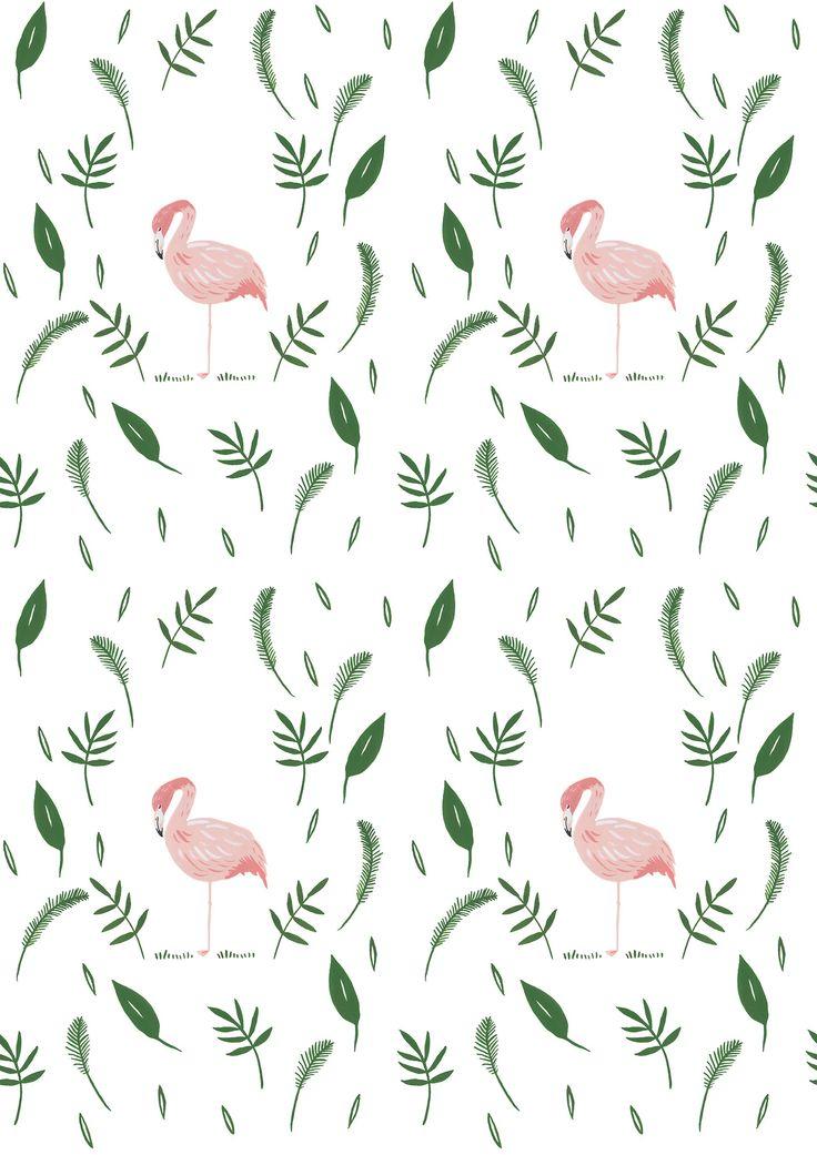 Flamingo leafy nature pattern design / gouache painting illustration / textile design / print design