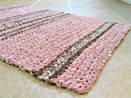 Hanmdmade rag rug, mat,   *Rectangle rag rug, scatter rug, mat, mat, more.   *Door or bath mat, scatter, kitchen, living, babys nursery, more.   *Shabby cottage, country, farmhouse, rustic, folk.   *Hand crocheted from *clean*, used recycled fabric and bed linens made from 100% cotton.   *Beautifully soft, supple, and cushy!   Colors: (shown here in natural and incandescent lighting, and may vary from monitor to monitor  please refer to color descriptions, or contact me for a more detailed…