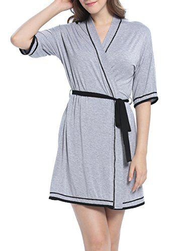 e30e9037de Women s Robe Pajama Soft Kimono Knit Bathrobe Short Cotton Lightweight  Sleepwear Loungewear (Gray