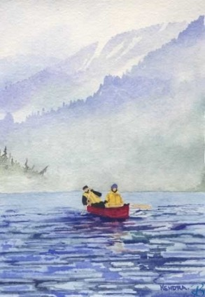 """Canoe by Artist Kendra Dixson    Couple out for a canoe on a cool, misty summer day.    Available in Prints and Art Cards:  8""""x10"""" Print  11""""x14"""" Print  16""""x20"""" Print  6 Pack Cards  20 Pack Cards  50 Pack Cards"""