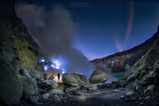 Fantastic view of Ijen blue flame