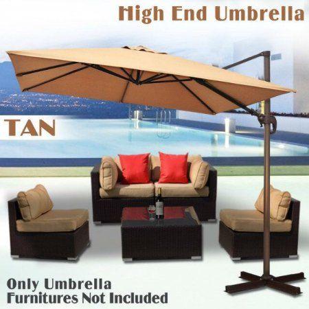 Sunrise Umbrella 10'X10' Deluxe Rome offset Hanging Cantilever Patio Umbrella--Tan