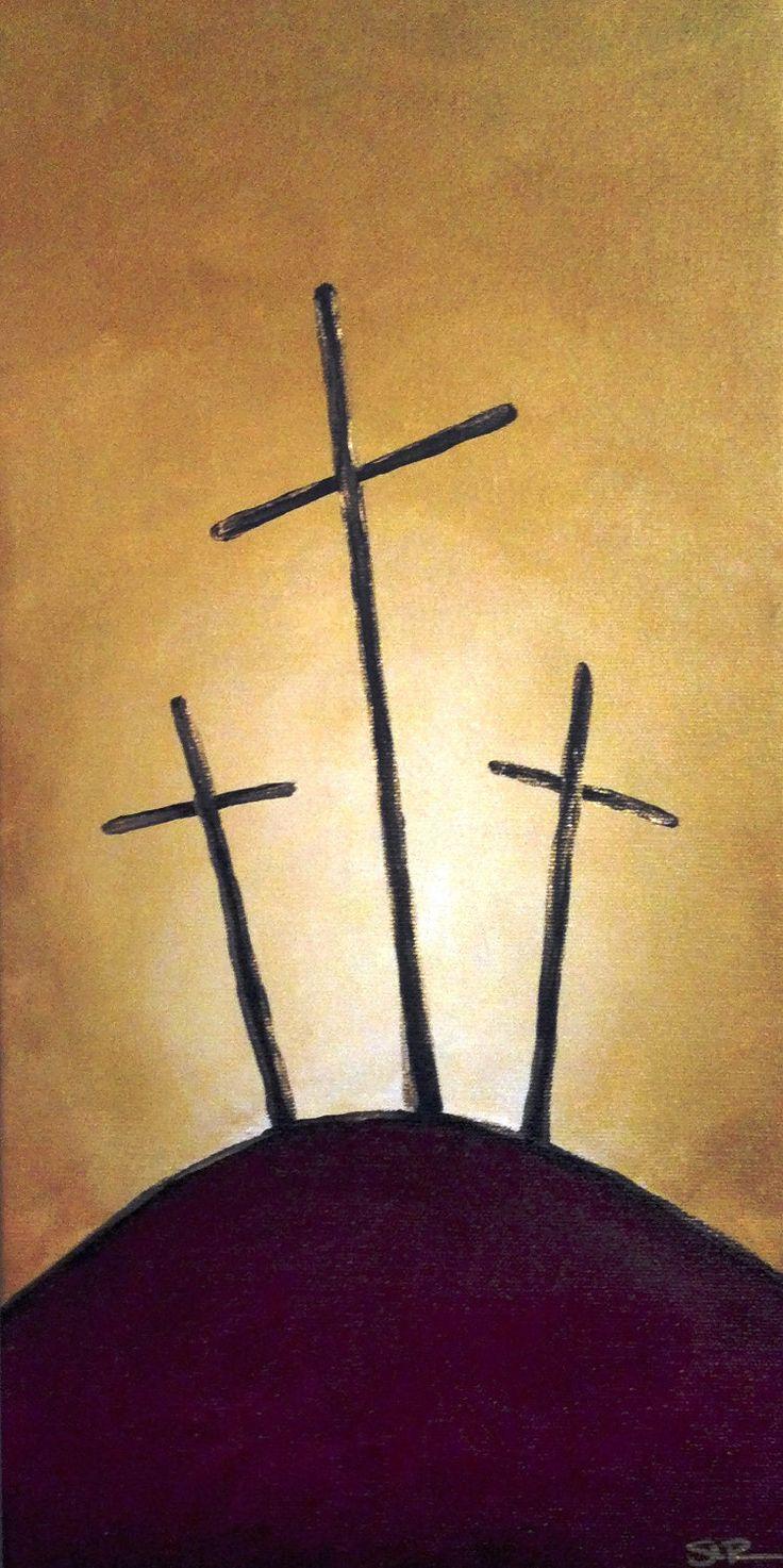 Three Crosses - Acrylic Painting. $30.00, via Etsy.