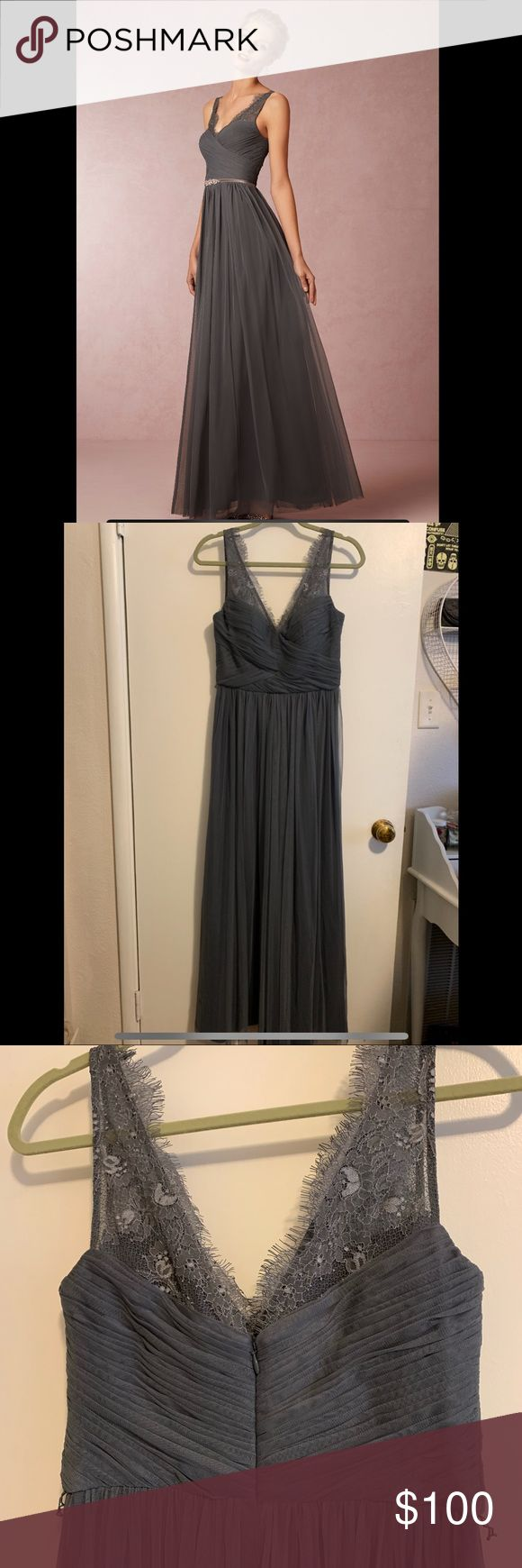 BHLDN hitherto charcoal chiffon lace dress Beautiful bridesmaid or wedding guest or prom dress, really suitable for any formal occasion. Carried by An...