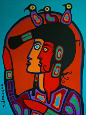 """Shaman With Spirit Self"" ~ Norval Morrisseau"