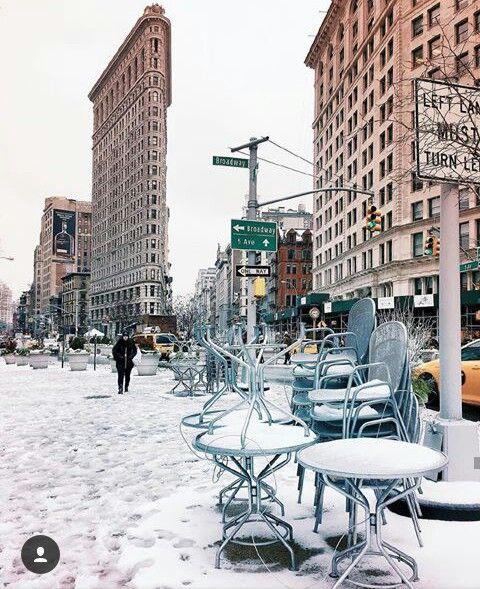 Flatiron Building in the winter.