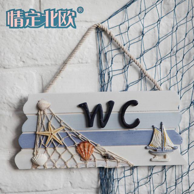 Rede de pesca shell wc porta de decoração wc banheiro placa de madeira placa porta