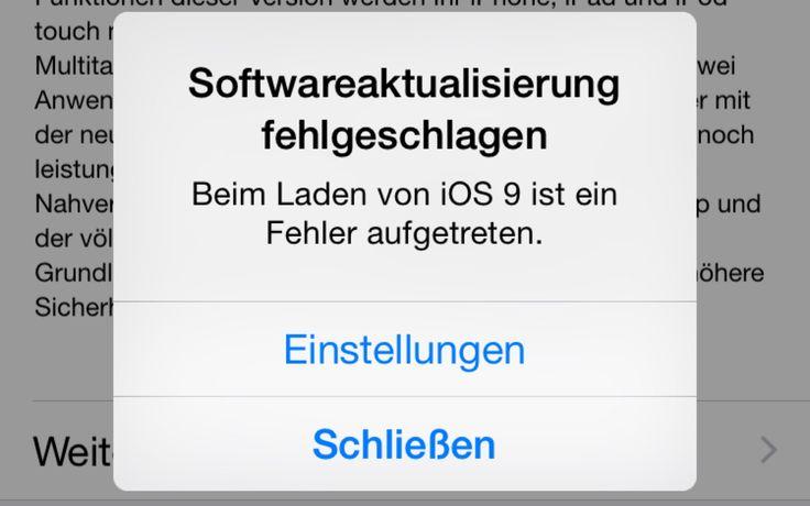 iOS 9: Softwareaktualisierung fehlgeschlagen - iOS 9 Update nicht möglich / geht nicht - https://apfeleimer.de/2015/09/ios-9-softwareaktualisierung-fehlgeschlagen-ios-9-update-nicht-moeglich-geht-nicht - iOS 9 Update ist da – beim iOS 9 Download als OTA-Update scheint es jedoch aktuell ein paar Apple aktuell ein paar Probleme zu haben – oder kurz gesagt: das Update auf iOS 9 funktioniert nicht. Zwar lässt sich über Einstellungen – Allgemein – Softwa