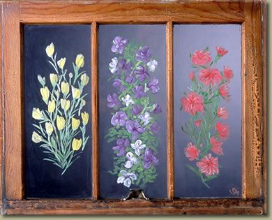 I paint on the glass of old wood framed windows.  Collecting the windows are half the art form.  Contact me for your own unique painting.  Or see my retail selection at Harlow Gardens in Tucson, Az.