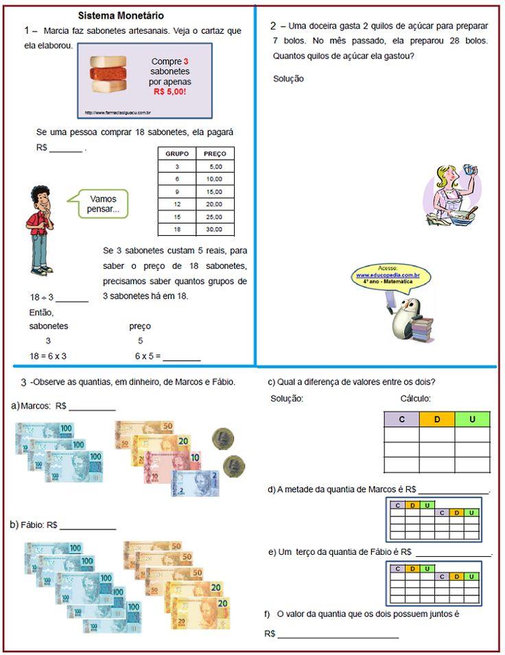 Sistema Monetário – Atividades | Sala de Aula – Profª Rérida