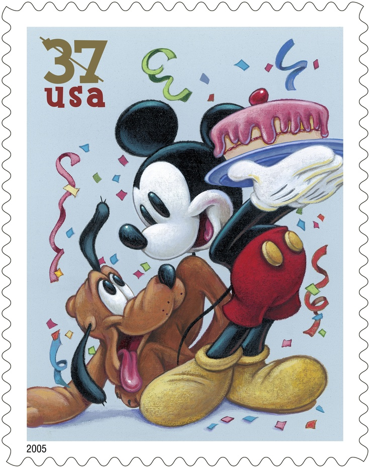 This stamp featuring Mickey Mouse and Pluto is one of four stamps issued in 2005 as part of The Art of Disney series. Can you guess the theme? Celebration!