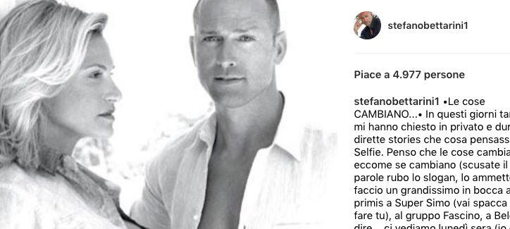 Stefano betatroni fa gli in bocca al lupo a Simona Ventura per Selfie - Le cose cambiano e posta una bellissima foto