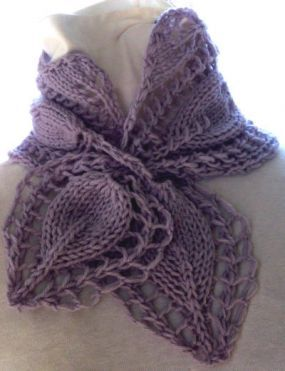 Lacy lavender knit scarf