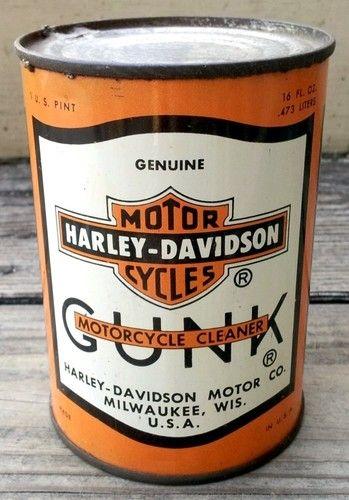 Vintage 1940s Harley Davidson Gunk Motorcycle Cleaner Motor Oil 1 U.S. Pint Can