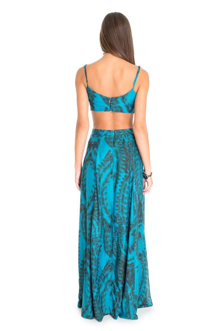 Vestido longo estampado penas pontilhadas | Dress to