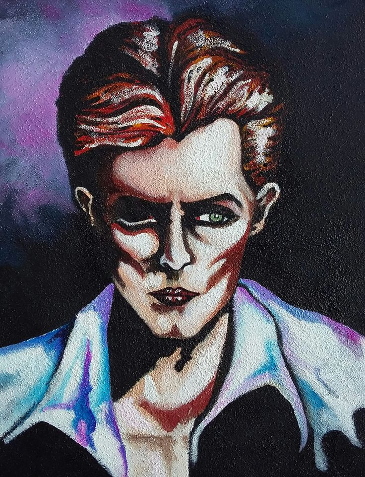 """Thin White Duke /The Man Who Fell to the Earth"", acrylic on canvas, 40x50cm, 2015"