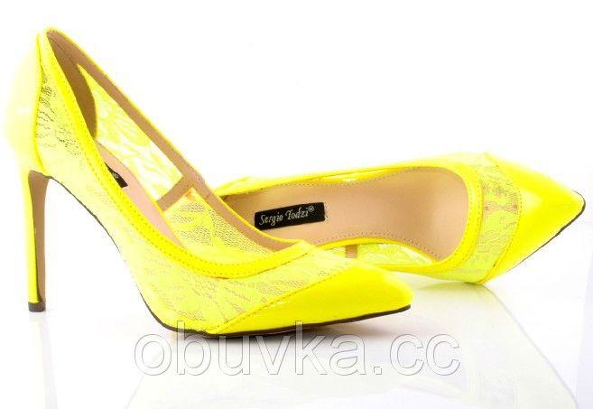 Женские туфли кружевные желтые - Интернет магазин Obuvka.cc - самая низкая оптовая и розничная цена обуви, сумок,аксессуаров и одежды в Львове 776ГРН