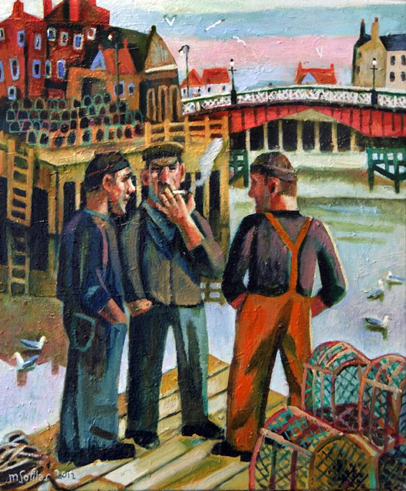 Fishermen at Whitby harbour, North Yorkshire, taking time to chat. Format: Limited edition Giclee printed on 310 gsm PH neutral fine art archival paper. Single mounted  The prints are signed & come with a certificate of authenticity. Print size: 47cm x 39cm Mounted size: 59 x 51cm