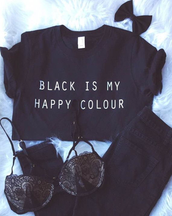Black Is My Happy Colour Tshirt Tumblr Blogger by ArmiTee on Etsy