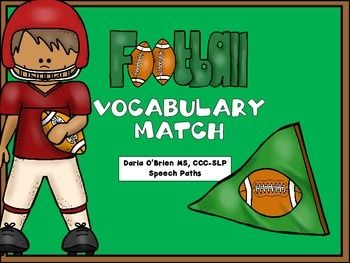 Football Vocabulary Match FREEBIE! Special Education, EFL - ESL - ELD, Speech Therapy 5th, 6th, 7th, 8th Activities, Fun Stuff--This football-themed vocabulary game is perfect for middle school students! This is included as a bonus game in my Fantasy Football Language packet. Play as a matching/memory game for a fun way to build vocabulary and expressive language skills.