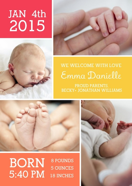 This collage birth announcement is a beautiful way to introduce your new baby!