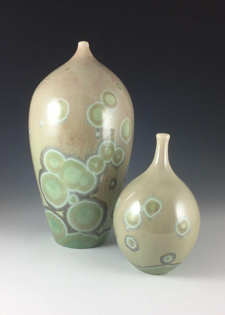 Bjarne Nielsen. Glossy crystalline glaze with 2 % CuO.