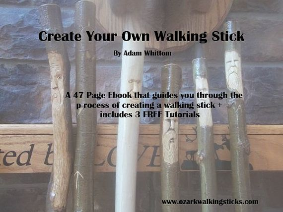 103 best wood carving walking sticks images on pinterest wood make your own walking stick 3 free tutorials ebook wood carving missouri ozarks gift ideas beginner instructions step by step illustrations fandeluxe Ebook collections