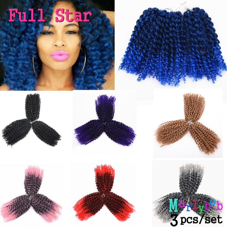 8 Pulgadas Crochet Trenzas Afro Rizada rizada 3 Unids/set Ombre Trenzas Caja de Ganchillo Color Rojo/Azul/Rosa Sintético trenzado de Cabello bob Marly