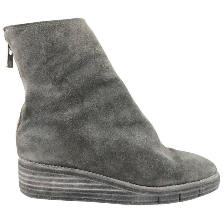 GUIDI Size 8 Grey Distressed Suede Pointed Wedge Ankle Boots